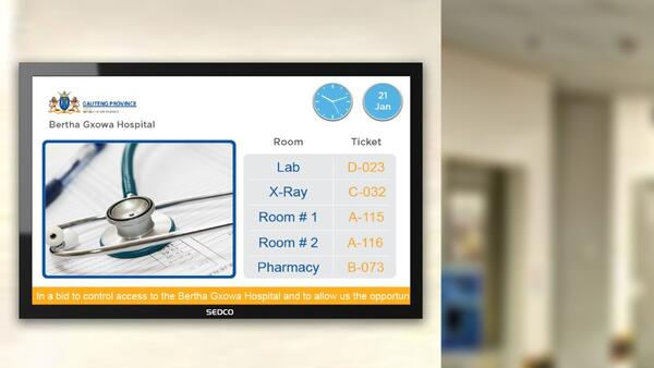 SEDCO's digital signage system for Bertha Goxwa hospital